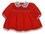 Polly Flinders Red Smocked Baby Dress with Holly Embroidered Collar
