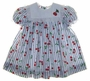 NEW Polly Flinders Blue and White Striped Dress with Cherries with Matching Pantaloons