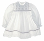 Polly Flinders White Eyelet Trimmed Dress with Red Rosebud Embroidery and Red Ribbon Insertion
