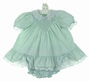 Polly Flinders Green Smocked Dress with Lace and Ruffles and Matching Diaper Cover