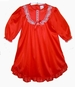NEW Red Nylon Long Sleeved Nightgown with White Lace Trim for Babies, Toddlers, Little Girls, and Big Girls