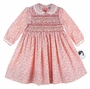 "<img src=""http://site.grammies-attic.com/images/blue-sold-1.gif""> NEW Sarah Louise Red Flowered Smocked Twill Dress with Fagoted Collar"