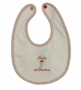 "<img src=""http://site.grammies-attic.com/images/blue-sold-1.gif""> NEW Pima Cotton Knit Baby's First Christmas Bib with Santa Embroidery"
