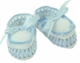 NEW Willbeth Vintage Style Blue and White Cotton Knit Moccasin Booties with Woven Ribbon
