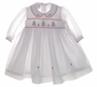"<img src=""http://site.grammies-attic.com/images/blue-sold-1.gif""> NEW Will'Beth White Voile Smocked Dress with Embroidered Christmas Trees"