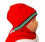 "<img src=""http://site.grammies-attic.com/images/blue-sold-1.gif""> NEW Red Knit Hat with Attached Scarf with Holiday Applique"
