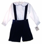 "<img src=""http://site.grammies-attic.com/images/blue-sold-1.gif""> NEW Therese Blue Velvet Suspendered Shorts Set"