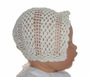 Heirloom Early 1900s Ivory Crocheted Christening Bonnet with Star Back Design