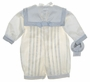 NEW Sarah Louise Ivory Silk Sailor Romper with Short Sleeves or Long Sleeves and Matching Sailor Hat with Blue Trim