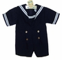 "<img src=""http://site.grammies-attic.com/images/blue-sold-1.gif""> Vintage Navy Blue Sailor Shortall with White Braid Trim"
