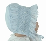 NEW Will'Beth Blue Smocked Bonnet with White Embroidered Rosebuds
