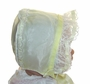 Vintage 1950s Pale Yellow Organdy Baby Bonnet with Lacy Ruffle