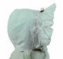 NEW White Corduroy Bonnet with Lace and Rosebud Trim