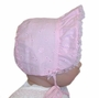 NEW Pink Eyelet Bonnet with Organdy Edged Face Ruffle