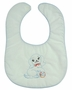 NEW White Bib with Blue Trim and Vintage Style Puppy Embroidery
