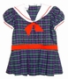 Polly Flinders Navy Plaid Sailor Dress with Inverted Pleats and Dropped Waist