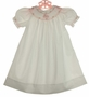 NEW Highland Porch White Cotton Smocked Bishop Dress with Pink Birthday Cake Embroidery and Matching Slip
