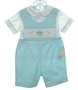 NEW Rosalina Teal Smocked Shortall Set with Birthday Embroidery