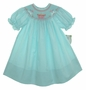 "<img src=""http://site.grammies-attic.com/images/blue-sold-1.gif""> NEW Rosalina Teal Smocked Bishop Dress with Birthday Embroidery"