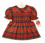 NEW Polly Flinders Red Plaid Smocked Dress with White Eyelet Trimmed Collar and Cuffs