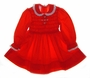 "<img src=""http://site.grammies-attic.com/images/blue-sold-1.gif""> Polly Flinders Red Smocked Toddler Dress with Embroidered Flowers and Eyelet Edged Collar"