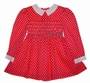 Polly Flinders Bright Pink Dotted Smocked Toddler Dress with White Collar