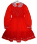 "<img src=""http://site.grammies-attic.com/images/blue-sold-1.gif""> Polly Flinders Red Dotted Girls Smocked Dress with White Lace Collar"