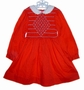 Polly Flinders Red Smocked Little Girls Dress with Embroidered Flowers