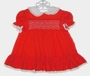 Polly Flinders Red Smocked Dress with White Eyelet Collar and Embroidered Flowers