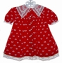 "<img src=""http://site.grammies-attic.com/images/blue-sold-1.gif""> Polly Flinders Red Velvet Baby Dress with Bows and Lace Collar"