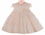 NEW Sarah Louise Pink Dress with Tiers of Ruffles and Rosebud Cluster