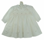 NEW Sarah Louise Ivory Twill Smocked Dress with Embroidered Pink Rosebud Hearts