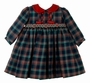 "<img src=""http://site.grammies-attic.com/images/blue-sold-1.gif"">  Sarah Louise Navy and Red Plaid Dress with Red Velvet Collar"