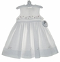 NEW Sarah Louise White Linen Dress with Fagoting and Embroidered Flowers