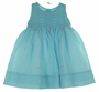 NEW Sarah Louise Teal Voile Smocked Dress with Pink Embroidered Flowers