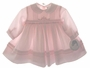 NEW Sarah Louise Pink Twill Smocked Dress with Pintucks and Pink Embroidered Rosebuds