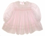 "<img src=""http://site.grammies-attic.com/images/blue-sold-1.gif""> NEW Sarah Louise Pale Pink Smocked Baby Dress with Fagoted Organdy Collar"