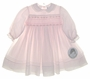 """<img src=""""http://site.grammies-attic.com/images/blue-sold-1.gif""""> NEW Sarah Louise Pale Pink Voile Smocked Dress with Rosebud Embroidery and Lace Trimmed Collar"""