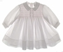 NEW Sarah Louise White Voile Smocked Baby Dress with Pink Smocking and Rosebuds