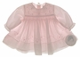 NEW Sarah Louise Pale Pink Smocked Baby Dress with Scalloped Embroidery and Seed Pearls