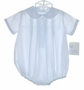 NEW Petit Ami Pale Blue Romper with Fagoting and Embroidery and Matching Hat