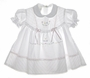 NEW Garden of Angels White or Pink Pintucked Baby Dress with Pastel Embroidered Flowers and Seed Pearls
