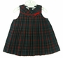 "<img src=""http://site.grammies-attic.com/images/blue-sold-1.gif""> NEW Sarah Louise Red and Green Plaid Pleated Jumper with Red Velvet Ribbon Insertion"