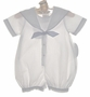 "<img src=""http://site.grammies-attic.com/images/blue-sold-1.gif""> NEW Sophie Dess White Linen Sailor Romper with Blue Trim"