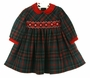 NEW Sarah Louise Red and Green Plaid Smocked Dress with Red Velvet Collar and Ribbon Insertion