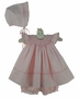 NEW Sarah Louise Pink Hearts Print Smocked Pinafore Style Dress with Matching Bonnet