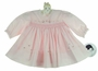 NEW Sarah Louise Pink Smocked Dress with Heart and Rosebud Embroidery