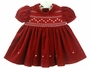 NEW Carriage Boutiques Red Velvet Smocked Dress with Short Sleeves or Long Sleeves