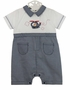 NEW Sarah Louise Navy and White Checked Romper with Helicopter Embroidery