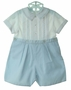 "<img src=""http://site.grammies-attic.com/images/blue-sold-1.gif""> NEW Sarah Louise Blue and White Pintucked Button On Shorts Set with Blue Embroidery"